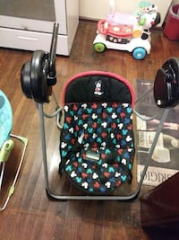 black and gray Mickey Mouse portable swing
