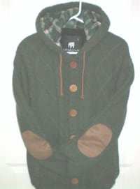 American Stitch Men's Hooded Cable Knit Cardigan Size Large