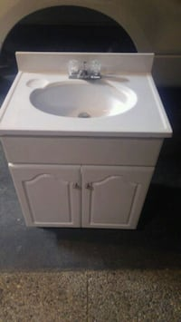 white ceramic sink with cabinet Oakville
