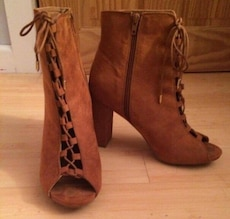 pair of brown suede open toe side zip chunky boots