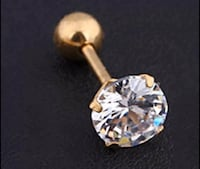 SILVER or GOLD TONE CRYSTAL EAR CARTILAGE STUD EARRING 4mm or 6mm