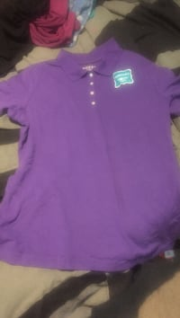purple half-button shirt
