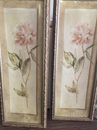 Brown wooden framed painting of white petaled flower Houston, 77042