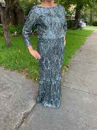 Cache long beaded gown size 10, worn once daughter's wedding, March 2019.