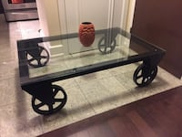 black metal framed glass-top coffee table Toronto, M2K 3R4
