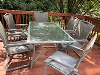 rectangular clear glass top table with four chairs patio set Woodbridge, 22193