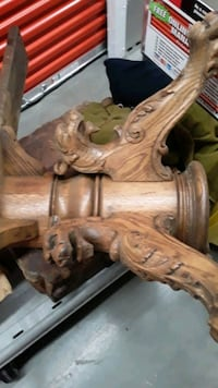 turn of the century dining room table hand carved out of Oak Anchorage, 99504