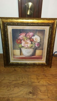 pink petaled flower painting with brown wooden frame Holiday, 34690