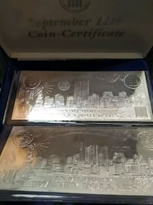 Two $20 9/11 Silver Leaf Coin-Certificate
