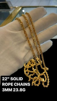 "10k real yellow gold solid rope chain 20""  Toronto, M1K 1N8"