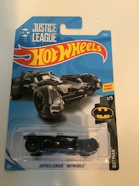 Hot wheels black justice league DC comics Batman batmobile diecast car
