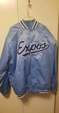 blue and white Los Angeles Dodgers letterman jacke