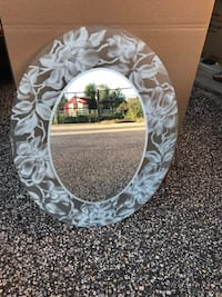 Oval shape white and gray floral glass framed mirror pick up only Brigantine Brigantine, 08203