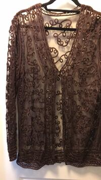 Sequin and embroidery Brown Top 3122 km