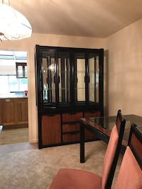 Black,brown,dusty rose formal dinning table, chairs and cabinet Galt