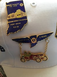 Speedway Lions Club hat with Indy, Brownsburg and Ft. Wayne antique pins Indianapolis, 46220