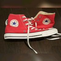 pair of red Converse All Star high top sneakers Vancouver, V5W 3A5