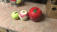 three assorted-color apples ceramic canisters El Paso, 79925