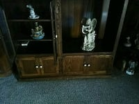 brown wooden framed glass cabinet Fort Worth, 76133