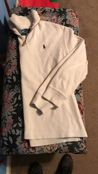 white Ralph Lauren collared long sleeve shirt