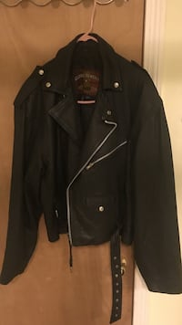 Black leather zip-up collared jacket