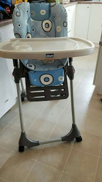 white and blue Chicco highchair Granby, J2G 8S8