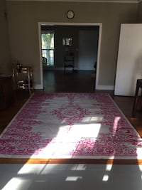 White and pink floral area rug, 9x13 Washington, 20005