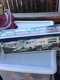 white Hess toy truck and racecars box Alexandria, 22303