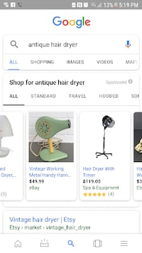 Antique hair dryer with stand (works great)