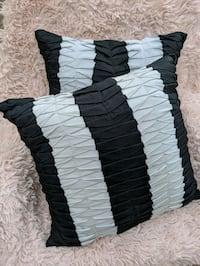 Pleated Striped Down Throw Pillows (black and cool gray)