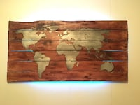 World map backlit wall art with remote control lights Toronto