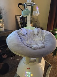 baby's white and gray Fisher-Price bouncer seat