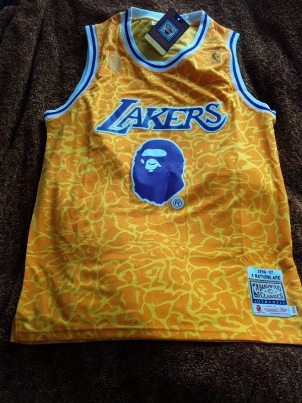 bb28c7427fe Used Lakers X BAPE NBA Jersey Mitchell N Ness for sale in Antioch ...