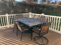 rectangular black metal framed glass top patio table set Columbia, 21046