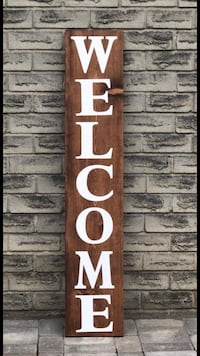 Wood welcome porch sign Bradford