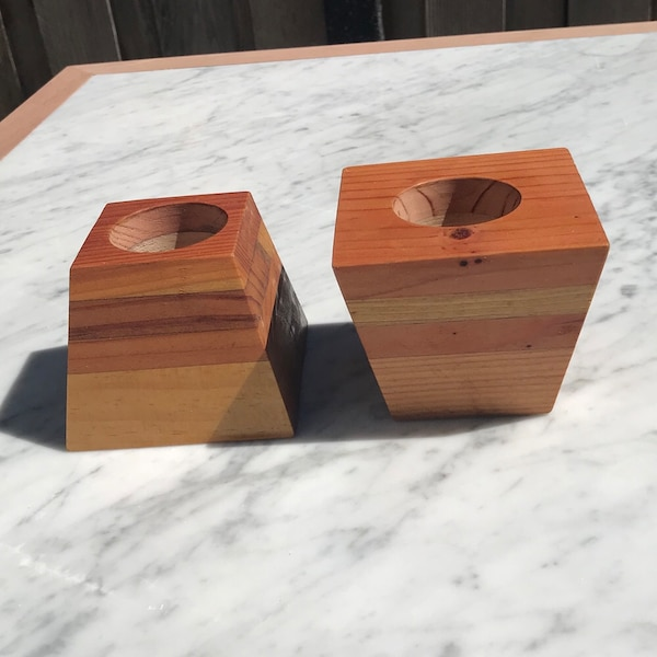 Used Pair Of Handmade Layered Wooden Planter 4x3x3 Inch Wxlxh And