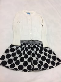 Children's white button-up sweater, black and white polka dot skirt ,the skirt Size 4 , the sweater size 5-6 all set in grate conditions and so cute , no stains, you can check them before u buy. Like new. The sweater from children place Hamilton, L8V 4K6