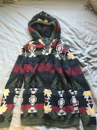 green, red, yellow, white, and black Aztec pullover hoodie