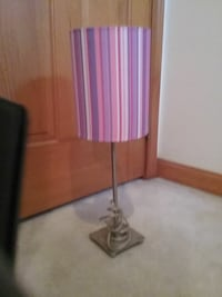 purple and pink lampshade table lamp