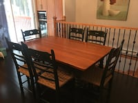 Rectangular brown wooden table with six chairs dining set 793 km