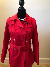 Banana Republic pea coat trench Red Gently used 2 buttons top missing