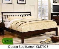 brown wooden bed frame with mattress La Mirada, 90639