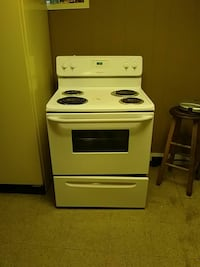 white 4-electric coil range oven