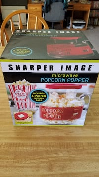 Used Red Sharper Image Microwave Popcorn Popper Box For Sale In