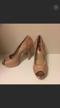 Saks Fifth Ave rose gold studded heels. San Jose, 95134