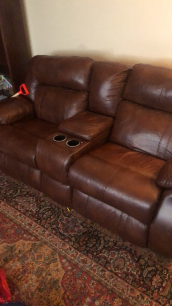 Used brown leather 3-seat recliner sofa for sale in New Orleans - letgo
