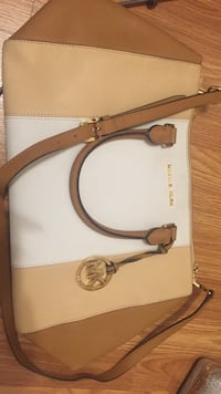 women's white, brown, and beige Michael Kors leather 2-way bag