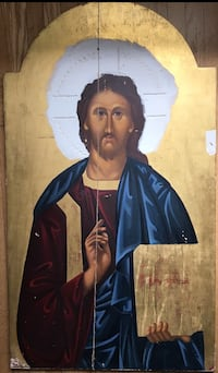Original icon-style painting with gold leaf of on wood Toronto, M8X 1R5