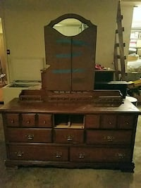 brown wooden dresser with mirror Lawrence, 66049