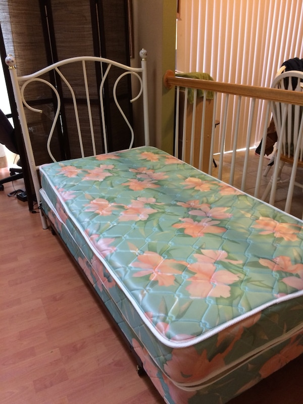 Green and pink floral bed mattress